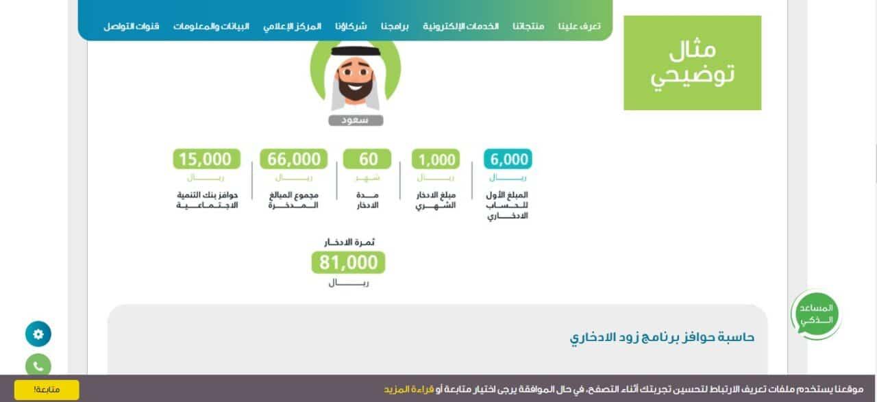 كيفية حساب الحوافز في برنامج زود الادخاري من بنك التنمية الإجتماعية